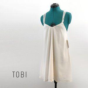 TOBI Cream Dress with Crochet Straps Medium